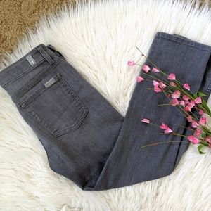 7FAM grey ankle straight leg cropped jeans